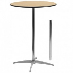 MFO 30'' Round Wood Cocktail Table with 30'' and 42'' Columns