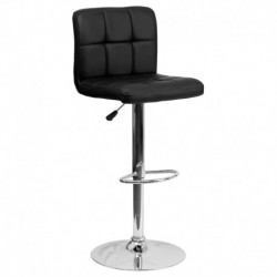 MFO Contemporary Black Quilted Vinyl Adjustable Height Bar Stool with Chrome Base