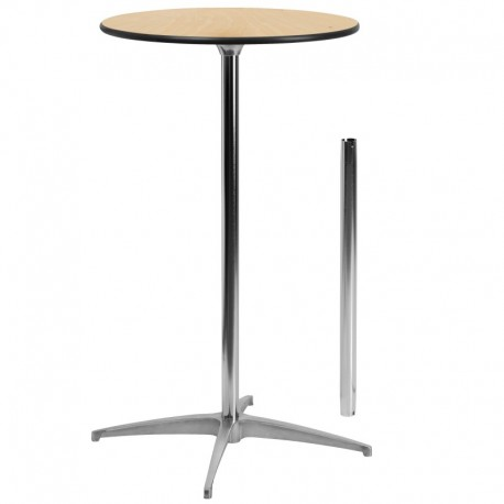 MFO 24'' Round Wood Cocktail Table with 30'' and 42'' Columns