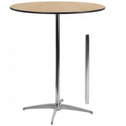 MFO 36'' Round Wood Cocktail Table with 30'' and 42'' Columns