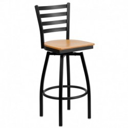 MFO Black Ladder Back Swivel Metal Bar Stool - Natural Wood Seat