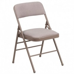 MFO Triple Braced Beige Fabric Upholstered Metal Folding Chair