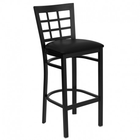 MFO Black Window Back Metal Restaurant Bar Stool - Black Vinyl Seat