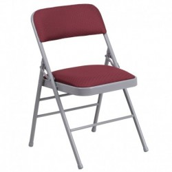 MFO Triple Braced Burgundy Patterned Fabric Upholstered Metal Folding Chair