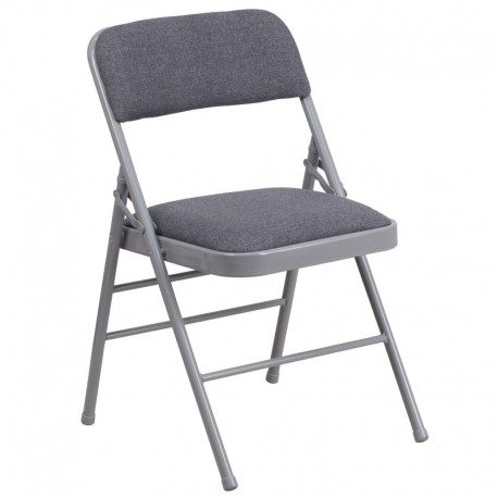 MFO Triple Braced Gray Fabric Upholstered Metal Folding Chair