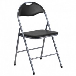 MFO Black Vinyl Metal Folding Chair with Carrying Handle