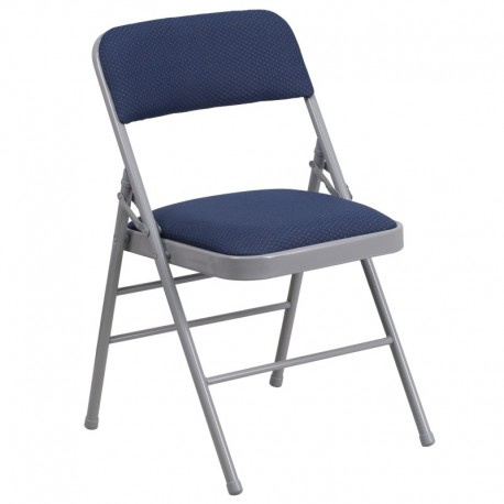 MFO Triple Braced Navy Patterned Fabric Upholstered Metal Folding Chair