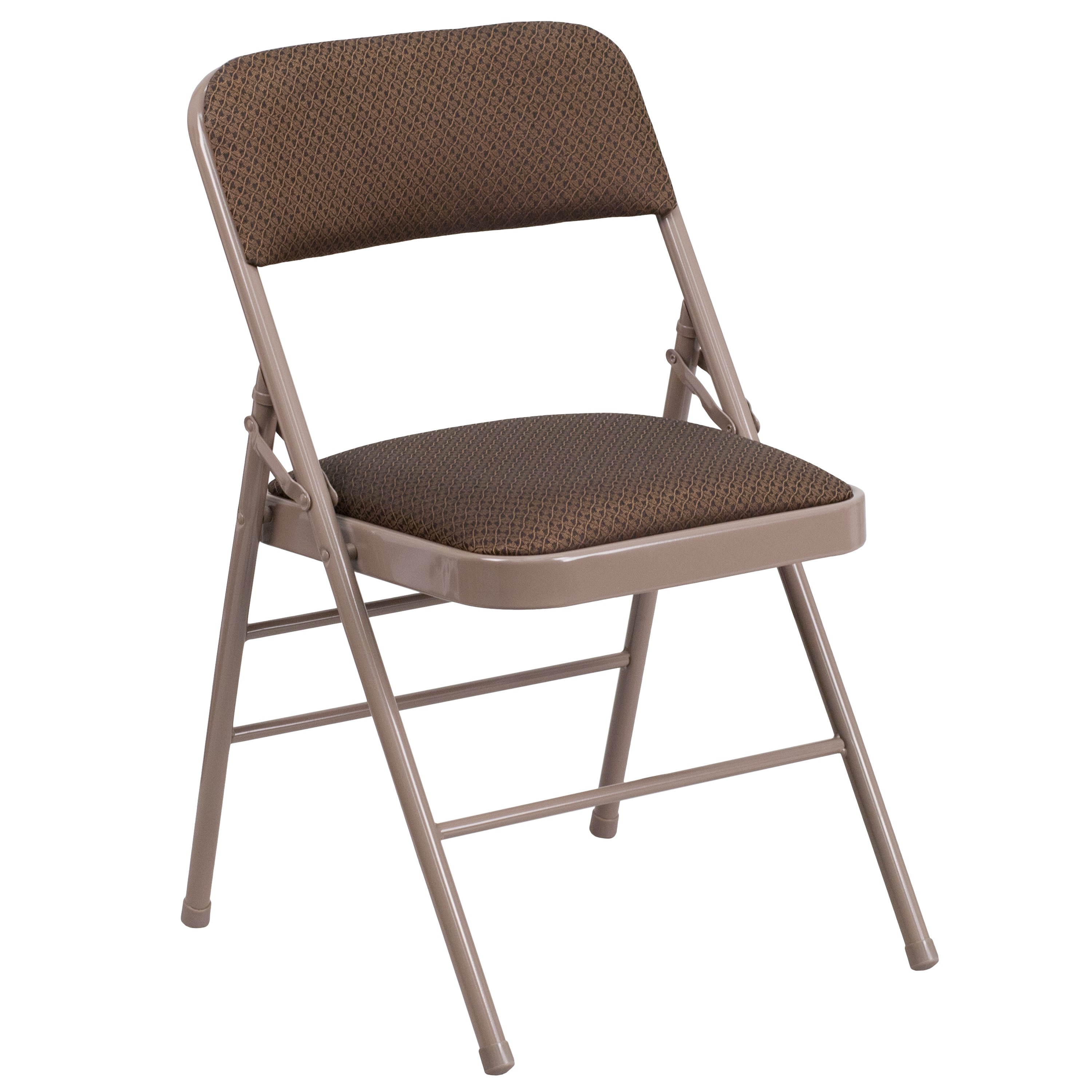 MFO Triple Braced Brown Fabric Upholstered Metal Folding Chair
