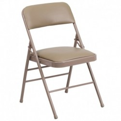 MFO Triple Braced Beige Vinyl Upholstered Metal Folding Chair