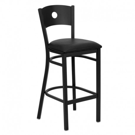 MFO Black Circle Back Metal Restaurant Bar Stool - Black Vinyl Seat