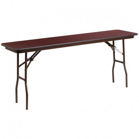MFO 18'' x 72'' Rectangular Walnut Melamine Laminate Folding Training Table