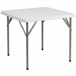 MFO 34'' Square Granite White Plastic Folding Table