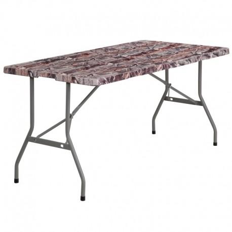 MFO 30''W x 60''L Bi-Fold Camouflage Plastic Folding Table