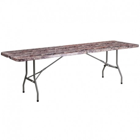 MFO 30''W x 96''L Bi-Fold Camouflage Plastic Folding Table