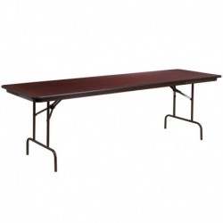 MFO 30'' x 96'' Rectangular Walnut Melamine Laminate Folding Banquet Table