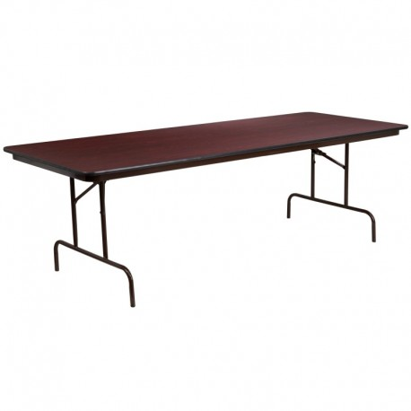 MFO 36'' x 96'' Rectangular Walnut Melamine Laminate Folding Banquet Table