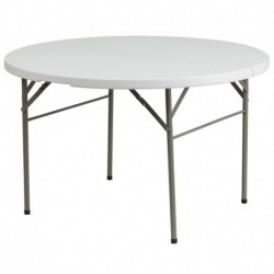 MFO 48'' Round Bi-Fold Granite White Plastic Folding Table
