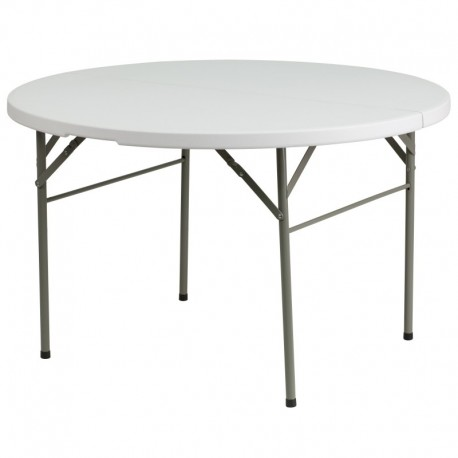 MFO 48'' Round Bi-Fold Granite White Plastic Folding Table