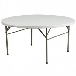MFO 60'' Round Bi-Fold Granite White Plastic Folding Table