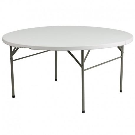 MFO 60'' Round Bi-Fold Granite White Plastic Folding Table