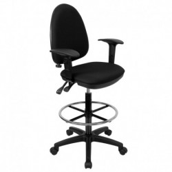 MFO Mid-Back Black Fabric Multi-Functional Drafting Stool with Arms and Adjustable Lumbar Support