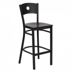 MFO Black Circle Back Metal Restaurant Bar Stool - Mahogany Wood Seat