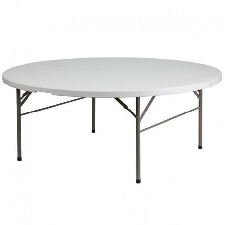 MFO 72'' Round Bi-Fold Granite White Plastic Folding Table