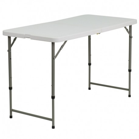 MFO 24''W x 48''L Height Adjustable Granite White Plastic Folding Table