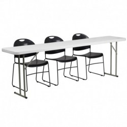 MFO 18'' x 96'' Plastic Folding Training Table with 3 Black Plastic Stack Chairs