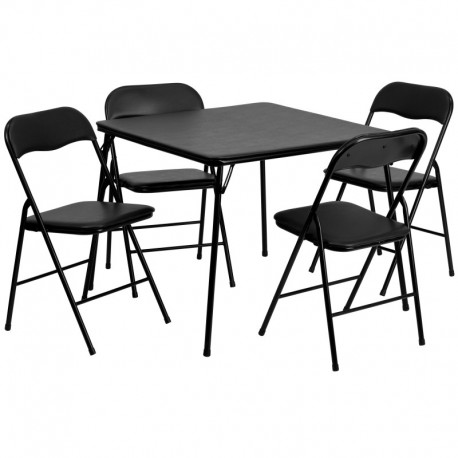 MFO 5 Piece Black Folding Card Table and Chair Set