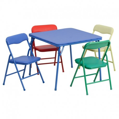 MFO Kids Colorful 5 Piece Folding Table and Chair Set