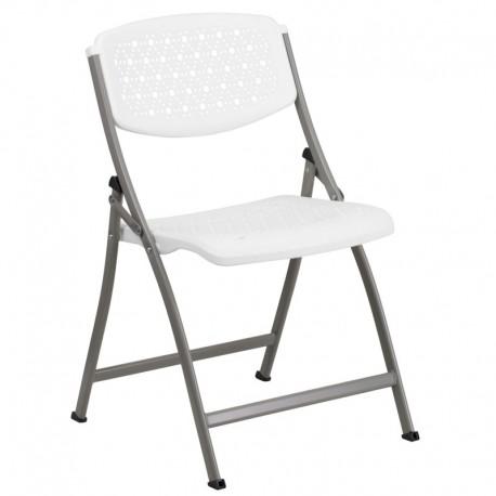 MFO White Designer Comfort Molded Folding Chair