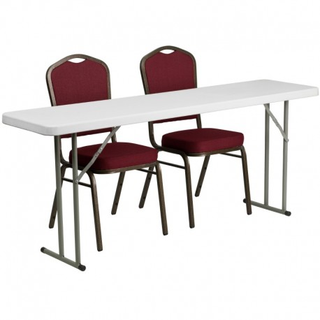 MFO 18'' x 72'' Plastic Folding Training Table with 2 Crown Back Stack Chairs