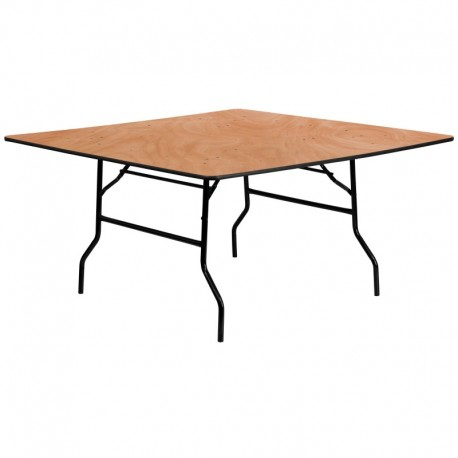 MFO 60'' Square Wood Folding Banquet Table