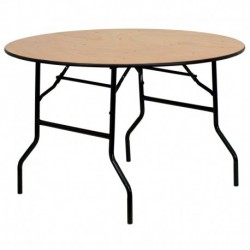 MFO 48'' Round Wood Folding Banquet Table with Clear Coated Finished Top