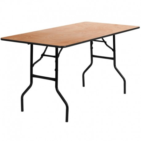 MFO 30'' x 60'' Rectangular Wood Folding Banquet Table with Clear Coated Finished Top