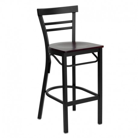 MFO Black Ladder Back Metal Restaurant Bar Stool - Mahogany Wood Seat
