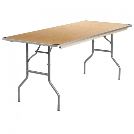 MFO 30'' x 72'' Rectangular HEAVY DUTY Birchwood Folding Banquet Table with METAL Edges and Protective Corner Guards