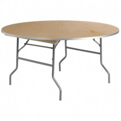 MFO 60'' Round HEAVY DUTY Birchwood Folding Banquet Table with METAL Edges