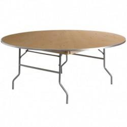 MFO 72'' Round HEAVY DUTY Birchwood Folding Banquet Table with METAL Edges