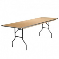MFO 30'' x 96'' Rectangular HEAVY DUTY Birchwood Folding Banquet Table with METAL Edges and Protective Corner Guards