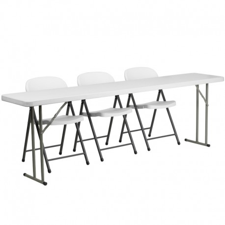 MFO 18'' x 96'' Plastic Folding Training Table with 3 White Plastic Folding Chairs