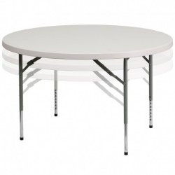 MFO 48'' Round Height Adjustable Granite White Plastic Folding Table