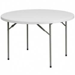 MFO 48'' Round Granite White Plastic Folding Table