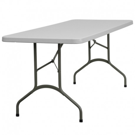 MFO 30''W x 72''L Granite White Plastic Folding Table