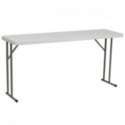 MFO 18''W x 60''L Granite White Plastic Folding Training Table