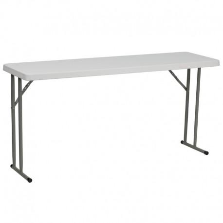 MFO 18''W x 60''L Granite White Plastic Folding Training Table