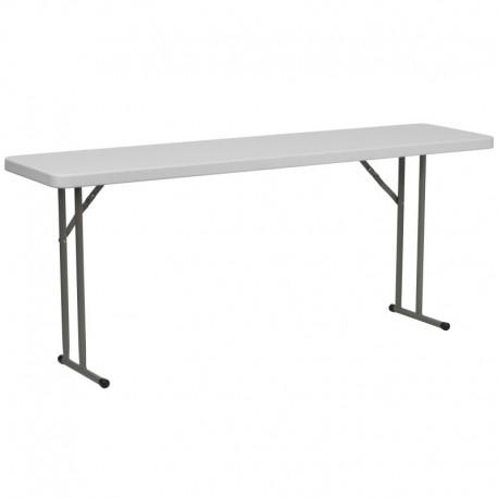 MFO 18''W x 72''L Granite White Plastic Folding Training Table