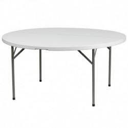 MFO 60'' Round Granite White Plastic Folding Table