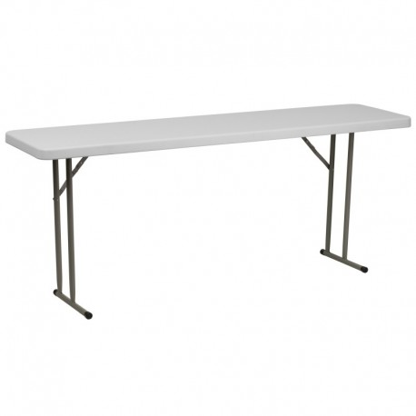 MFO 18''W x 72''L Granite White Plastic Folding Training Table